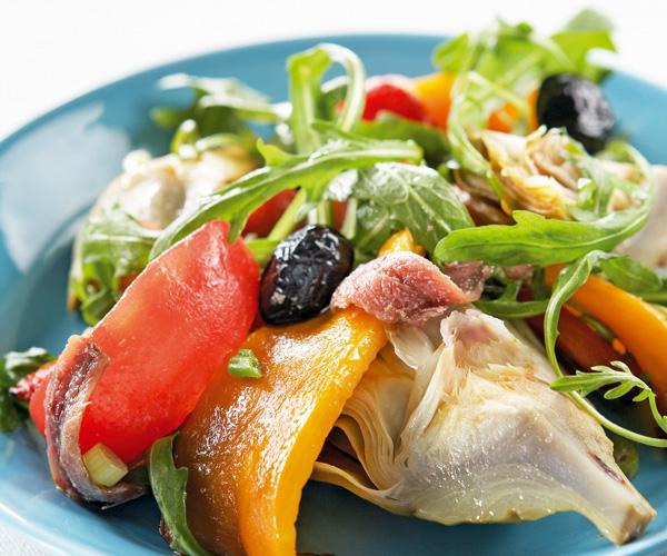 Salade artichaut et poivrons grillés